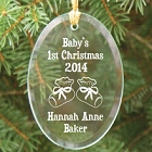 Baby's 1st Christmas Personalized Glass Christmas Tree Ornament