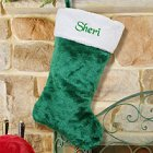 Embroidered Green Plush Personalized Christmas Stocking